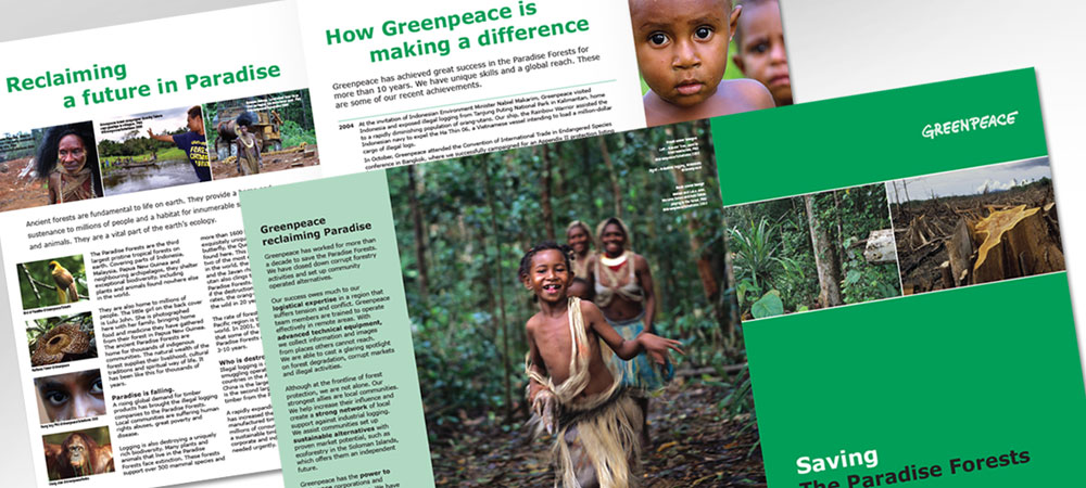 Greenpeace Paradise Rainforest brochure
